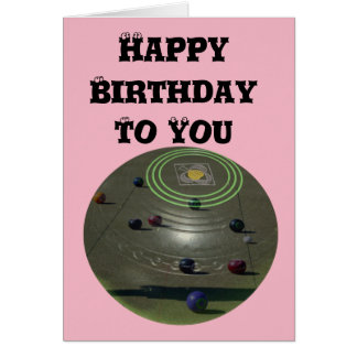 Competition Lawn Bowl, Pink Birthday Logo Card