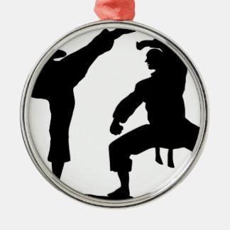 competitive athlete black Silver-Colored round ornament