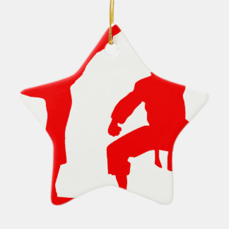 Competitive athlete-talk ceramic star ornament