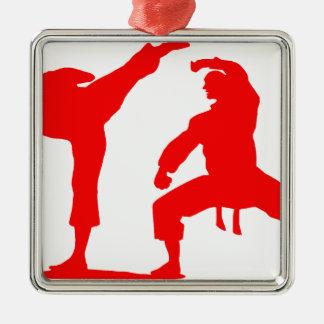 Competitive athlete-talk Silver-Colored square ornament