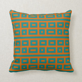 Complementary colors teal orange throw pillow