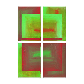 Complementary Fugue Four Panel Abstract Canvas Print