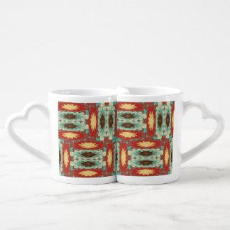 Complex colorful pattern coffee mug set