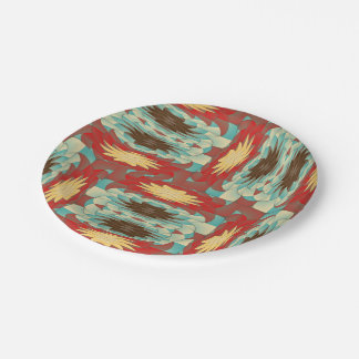Complex colorful pattern paper plate