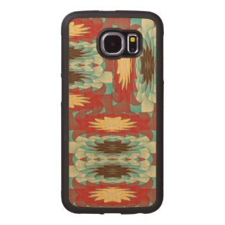 Complex colorful pattern wood phone case