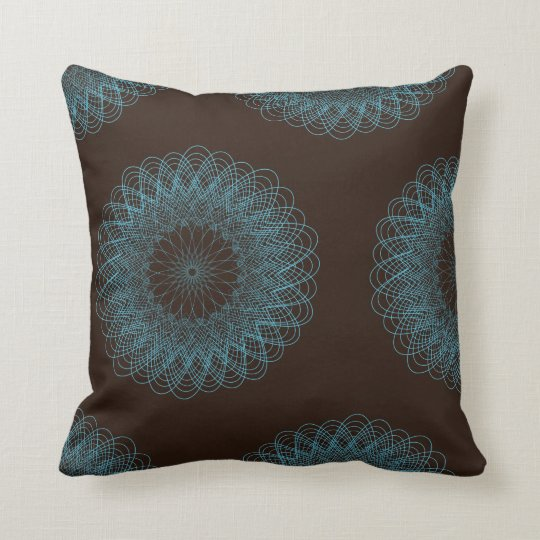 Complex Guilloche Flower pattern brown teal Throw Pillow