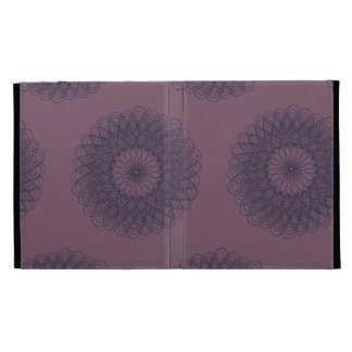 Complex Guilloche Flower patterns muted red blue iPad Folio Covers
