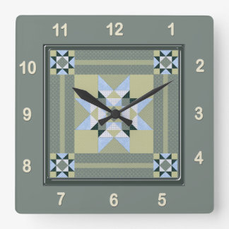 Complex Star Patch Quilt Block in Greens Clocks
