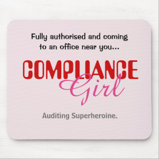Compliance Girl Funny Female Auditor Superheroine Mouse Pad