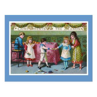 """Compliments of the Season"" Vintage Postcard"