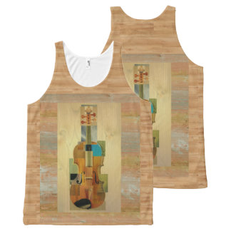 Composed Violin on Wood Panel Look All-Over-Print Tank Top