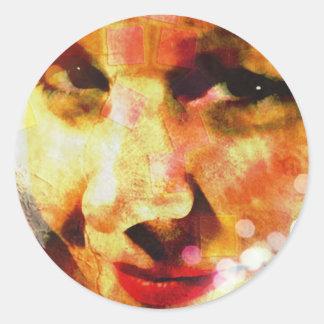 composite face round sticker