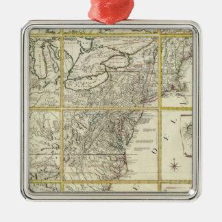 Composite map of United States Silver-Colored Square Ornament