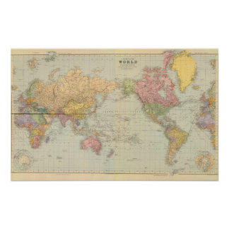 Composite World on Mercator's projection Poster