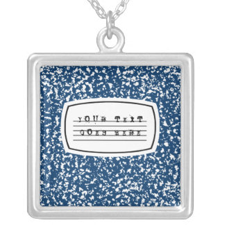 composition book silver plated necklace