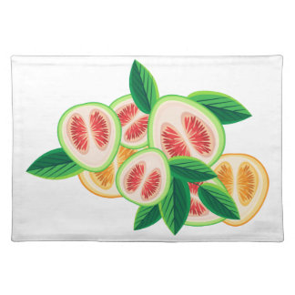 Composition from citrus and green leaves placemat