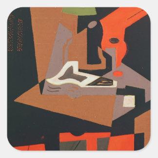 Composition (oil on canvas) square sticker