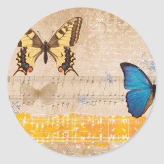 Composition with butterflies round sticker