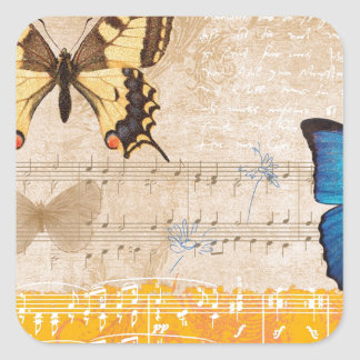 Composition with butterflies square sticker