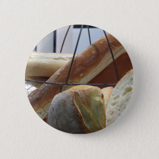 Composition with different types of baked bread 2 inch round button