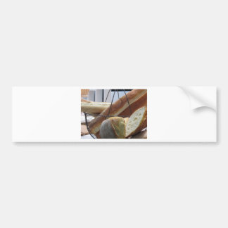 Composition with different types of baked bread bumper sticker