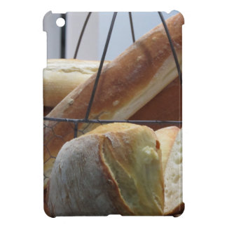 Composition with different types of baked bread case for the iPad mini