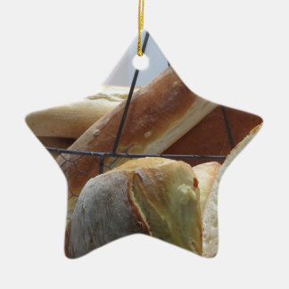 Composition with different types of baked bread ceramic ornament