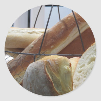 Composition with different types of baked bread classic round sticker