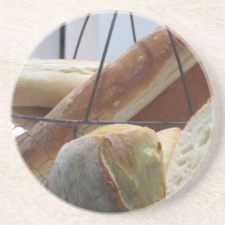 Composition with different types of baked bread coaster