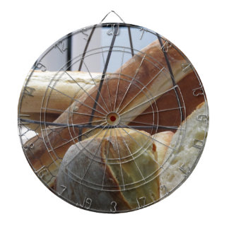 Composition with different types of baked bread dartboard