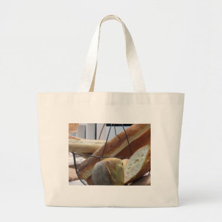 Composition with different types of baked bread large tote bag