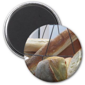 Composition with different types of baked bread magnet