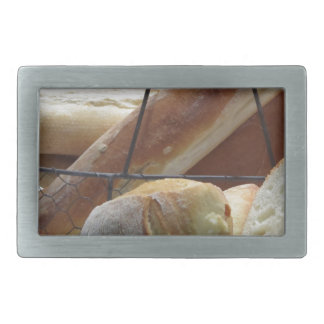 Composition with different types of baked bread rectangular belt buckles