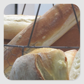 Composition with different types of baked bread square sticker