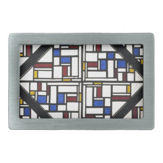 Composition with window with coloured glass III Rectangular Belt Buckle