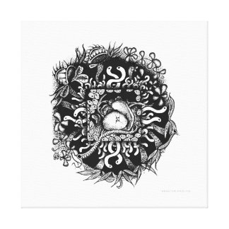 Compost Mandala - Black on White Canvas Print