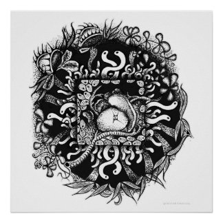 Compost Mandala - Black on White Poster