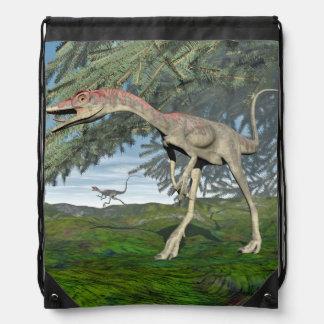 Compsognathus dinosaurs - 3D render Drawstring Bag