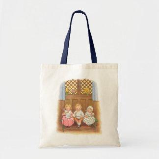 Comptine vintage des enfants chauds de gruau de sac en toile budget