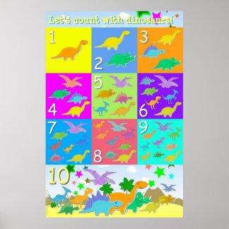 Comptons avec les numéros de dinosaures 1 - 10 com posters