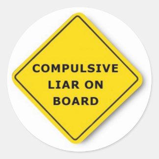 Compulsive Liar On Board Classic Round Sticker