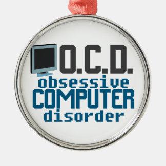 Computer Addict Silver-Colored Round Ornament