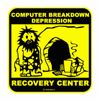 Computer breakdown depression recovery center standing photo sculpture