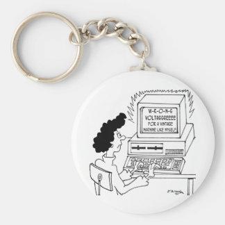 Computer Cartoon 4369 Basic Round Button Keychain
