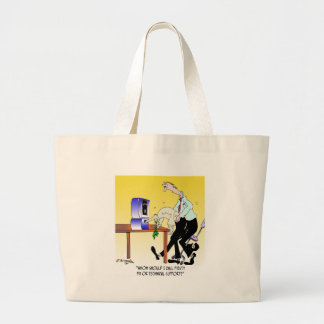 Computer Cartoon 6990 Large Tote Bag