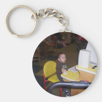 computer child basic round button keychain