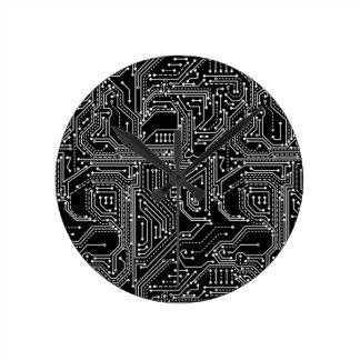 Computer Circuit Board Round Clock