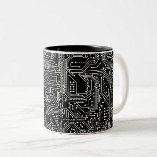 Computer Circuit Board Two-Tone Coffee Mug