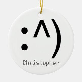 Computer Code Face Named Ceramic Ornament