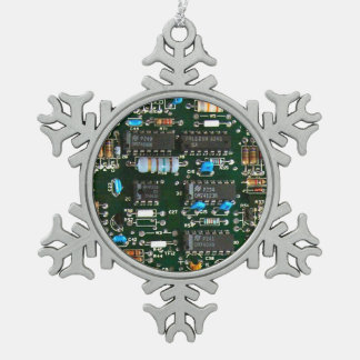 Computer Electronics Printed Circuit Board Snowflake Pewter Christmas Ornament